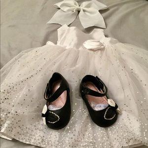 NEW Baby Girl 9m Cherokee White Tulle Shiny Dress